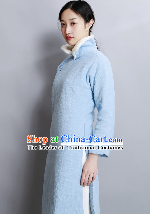 High Collar Chinese Minguo Style Long Robe Complete Set for Women