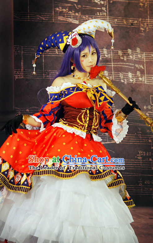 Custom Made Magician Cosplay Costumes and Headwear Complete Set for Women or Girls