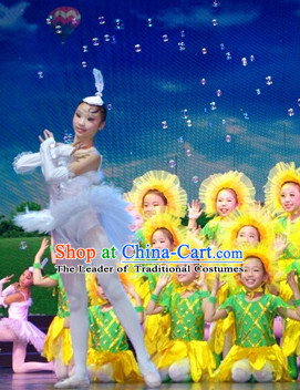 Chinese Stage Performance Sunflower Dance Costumes Complete Set for Kids