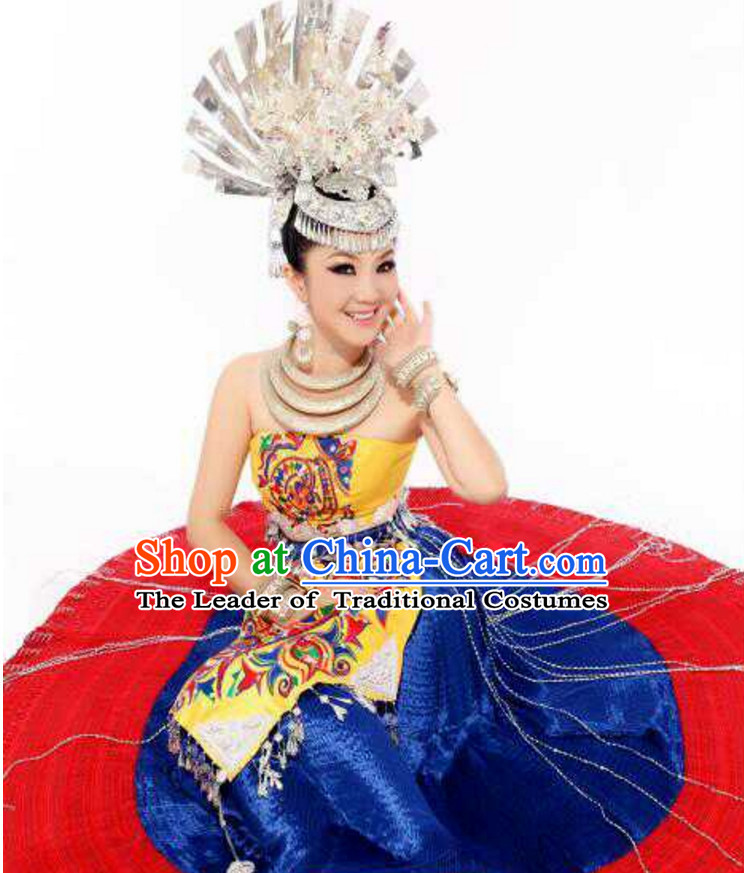 Traditional Chinese Hmong Dress Miao Clothing Cloth China Attire Oriental Dresses Complete Set for Women