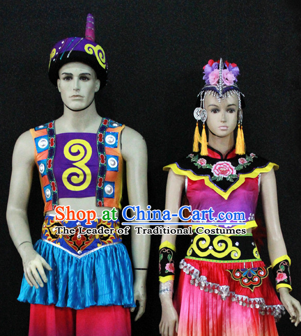 Chinese Nationality Folk Dance Ethnic Wear China Clothing Costume Ethnic Dresses Cultural Dances Costumes Complete Set for Men