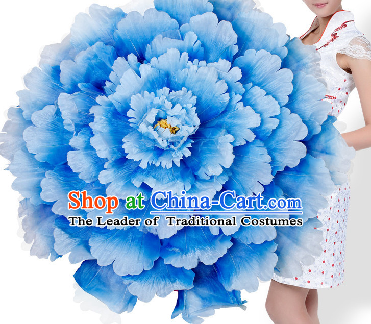 Blue Traditional Dance Peony Umbrella Props Flower Umbrellas Dancing Prop Decorations