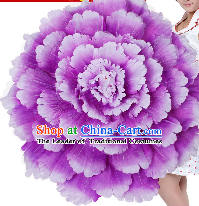 Purple Traditional Dance Peony Umbrella Props Flower Umbrellas Dancing Prop Decorations