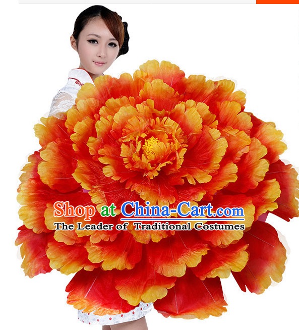 Red Orange Traditional Dance Peony Umbrella Props Flower Umbrellas Dancing Prop Decorations