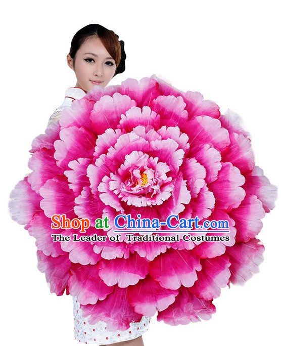 Pink Traditional Dance Peony Umbrella Props Flower Umbrellas Dancing Prop Decorations