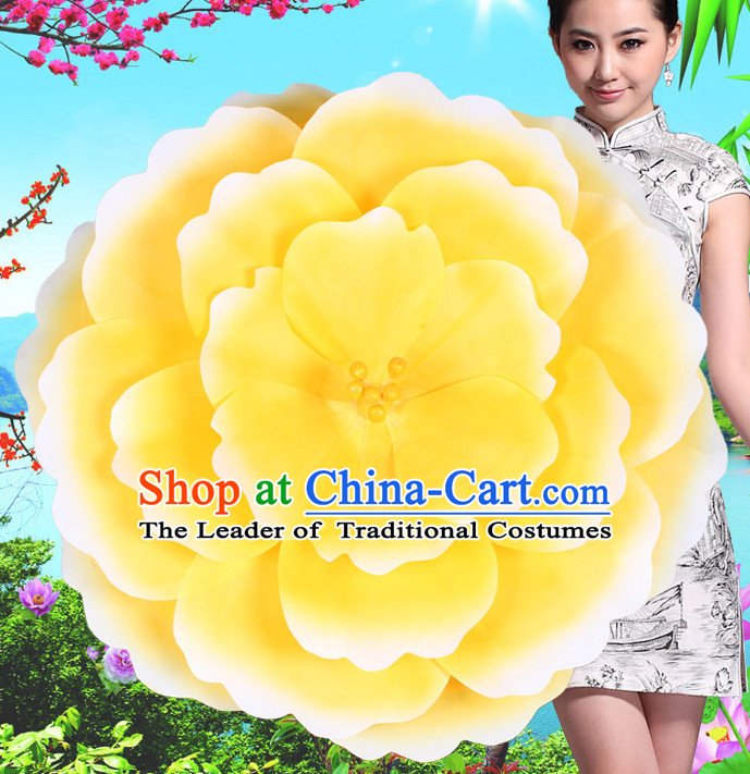 Yellow Traditional Dance Peony Umbrella Props Flower Umbrellas Dancing Prop Decorations