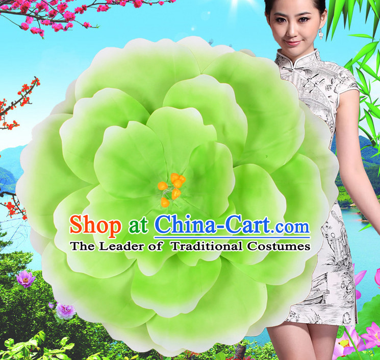 Green Traditional Dance Peony Umbrella Props Flower Umbrellas Dancing Prop Decorations