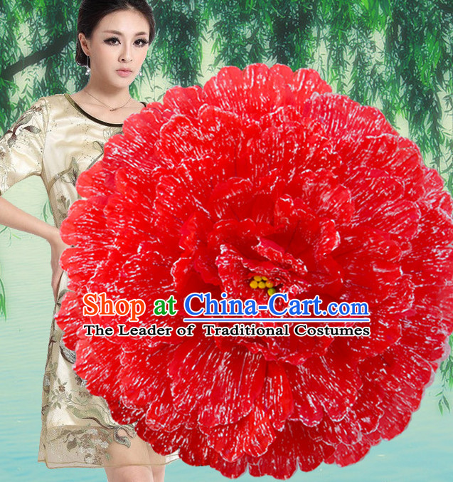 Red Traditional Dance Peony Umbrella Props Flower Umbrellas Dancing Prop Decorations for Women Men Adults