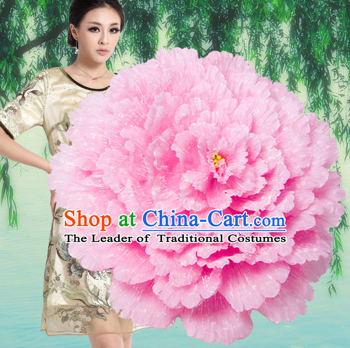 Pink Traditional Dance Peony Umbrella Props Flower Umbrellas Dancing Prop Decorations for Women Men Adults
