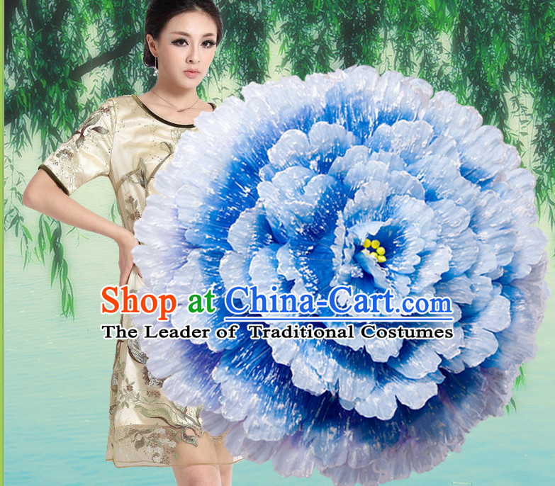 Blue Traditional Dance Peony Umbrella Props Flower Umbrellas Dancing Prop Decorations for Women Men Adults