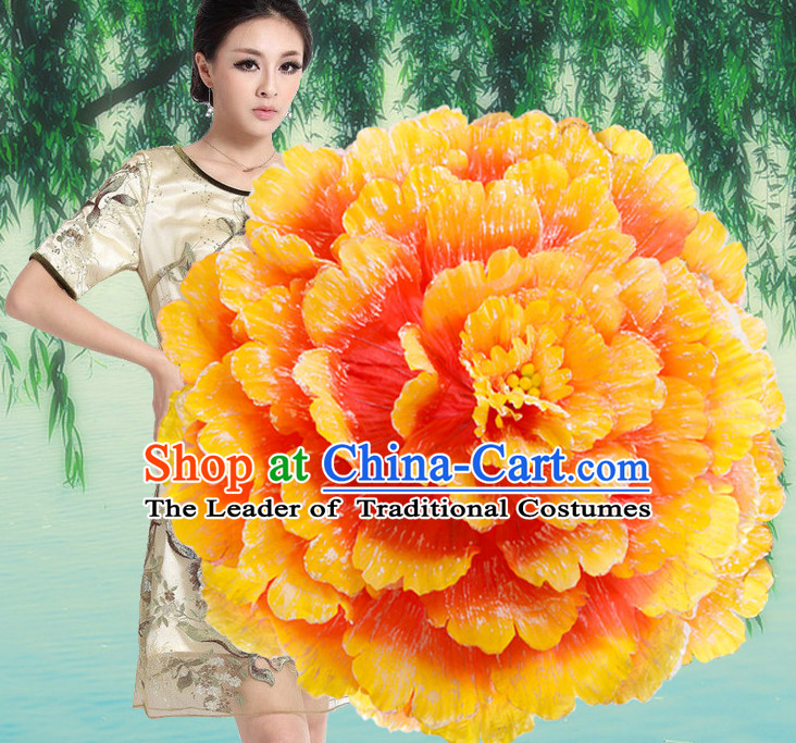 Yellow Traditional Dance Peony Umbrella Props Flower Umbrellas Dancing Prop Decorations for Women Men Adults