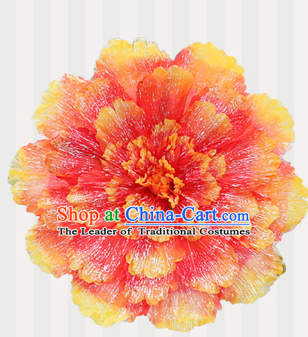 Orange Traditional Dance Props Flower Umbrella Dancing Prop Decorations for Men Women Adults