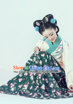 3f8eb980c Chinese Traditional Mandarin Dress Clothing Hanfu National Costumes China  Gown Wear and Hair Accessories Complete Set