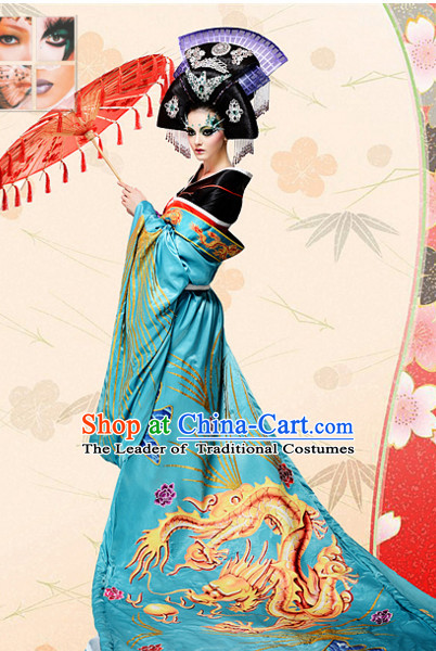 Ancient Tang Dynasty Chinese Imperial Palace Empress Queen Princess Garment Clothing and Hair Jewelry Complete Set for Women
