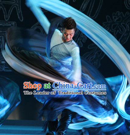 Chinese Classical Dancing Color Transition Water Ink Long Sleeve Dance Costumes Complete Set for Men