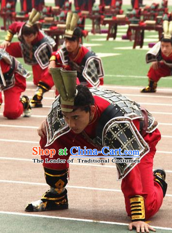 Chinese Classical Qin Bing Ma Yong Warrior Dancing Dance Costumes and Headwear Complete Set for Men