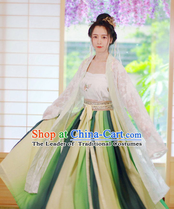 Traditional Chinese Han Dynasty Musician Clothing Blouse Skirt and Hair Jewelry Complete Set for Women