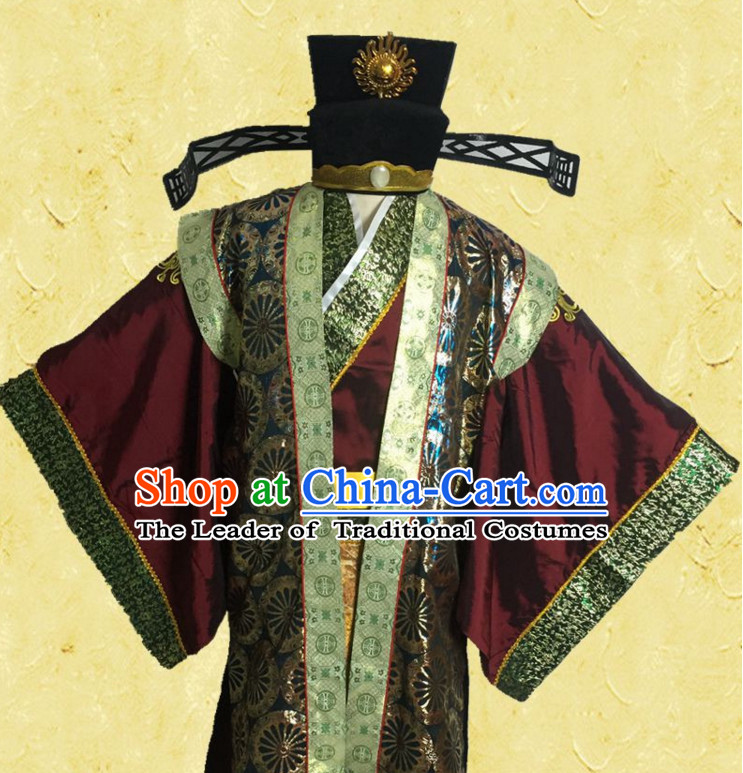 Green Ancient Chinese Style Official Costumes Clothing and Hat for Men