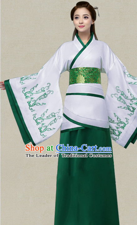 Green Hanfu Clothing Custom Traditional Han Dynasty Chinese Hanfu Dreses Han Clothing Hanzhuang Historical Dress and Accessories Complete Set