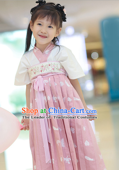 Chinese Traditional Dress Hanfu Costume China Kimono Robe Ancient Chinese Clothing National Costumes Gown Wear and Head Jewelry for Kids Children Girls