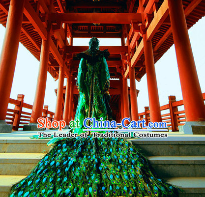 Chinese Traditional Empress Emperor Peacock Dress Hanfu Costume China Kimono Robe Ancient Chinese Clothing National Costumes Gown Wear and Headwear Complete Set for Women