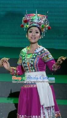 Chinese Folk Ethnic Dance Costume Traditional Minority Clothing National Costumes and Headwear Complete Set for Women