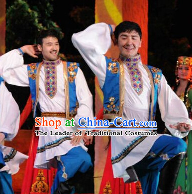 Chinese People Folk Dance Ethnic Dresses Traditional Wear Clothing Cultural Dancing Costume Complete Sets for Men