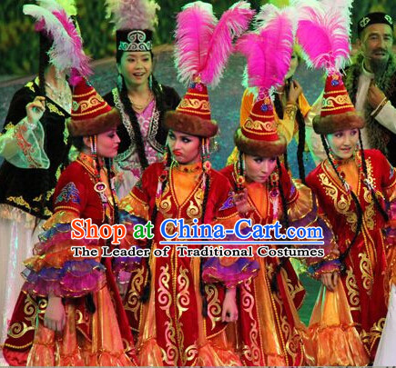 Chinese People Folk Dance Ethnic Dresses Traditional Wear Clothing Cultural Dancing Costume Complete Sets for Women