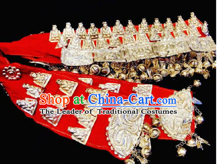 Chinese Miao Tribe Handmade Silver Belt for Women