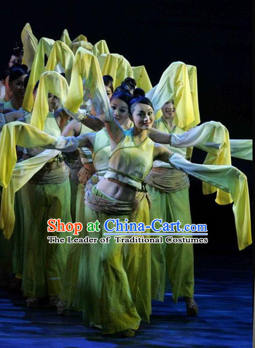 Ancient Chinese Classical Group Dancer Costumes Complete Set for Women