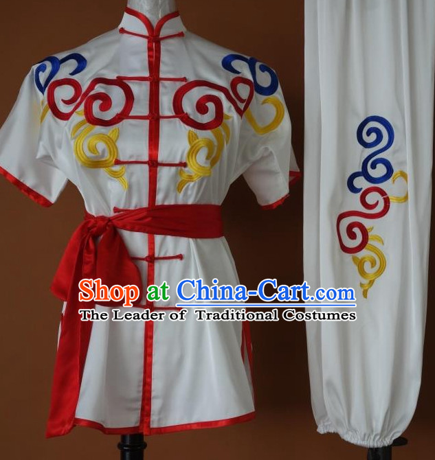 Short Sleeves Top Gold Asian Championship Kung Fu Martial Arts Uniform Suit for Women Men