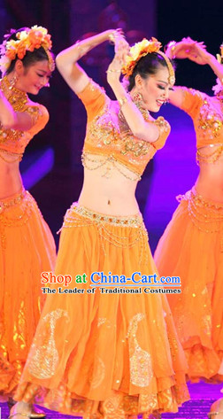 Chinese Indian Folk Dance Dress Clothing Dresses Costume Ethnic Dancing Cultural Dances Costumes for Women Girls