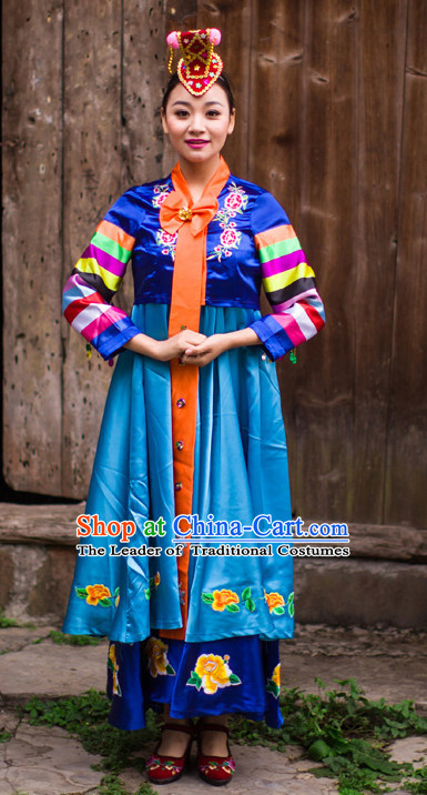 Chinese Korean Minority Nationality Ethnic Groups Wear Dresses Traditional Clothing for Women