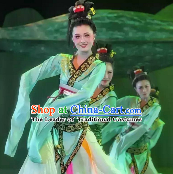 Chinese Classical Dance Costumes and Hair Decorations Complete Set for Women