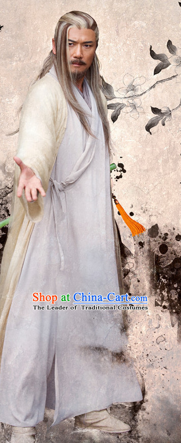 Chinese Ancient Kung Fu Master Costumes Clothing Complete Set for Men