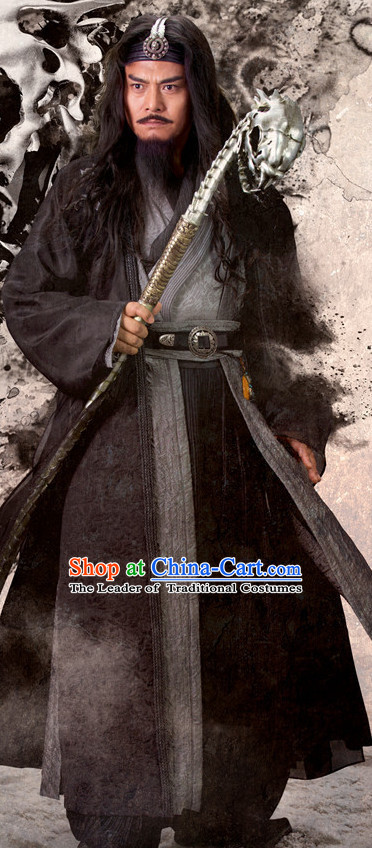 Chinese Ancient Martial Arts Master Costumes Clothing Complete Set for Men