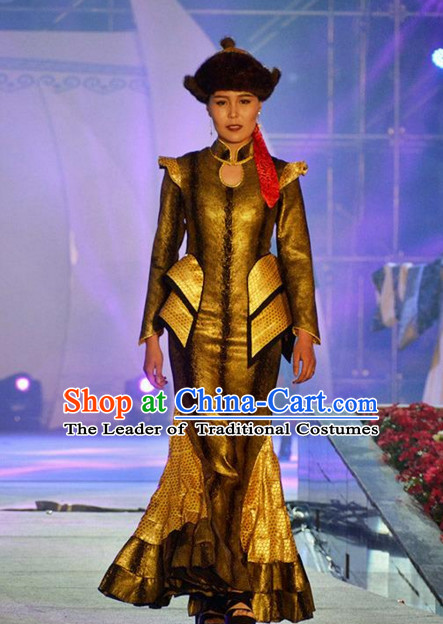 Traditional Mongolian Clothing Ancient Ethnic Princess Dresses and Hat Complete Set for Women