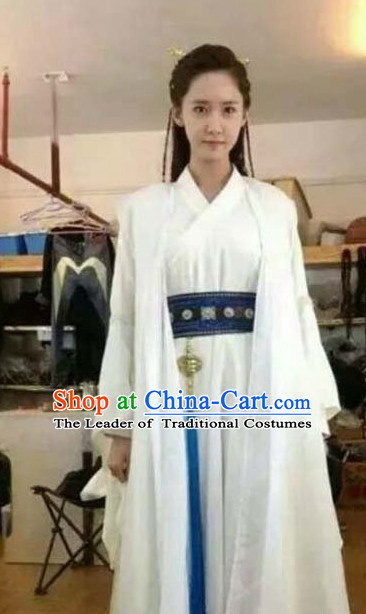 da4adbeeb Pure White Chinese Traditional Hanfu Clothing and Hair Accessories Complete  Set for Women