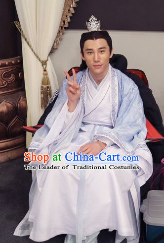 bf78c49c1 Ancient Chinese Traditional Swordsman Hanfu Clothing and Hair Accessories  Complete Set for Men