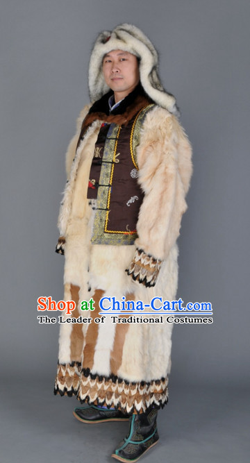 Chinese Traditional Ethnic Mongolian Dresses Wear Clothing and Hat Complete Set for Men