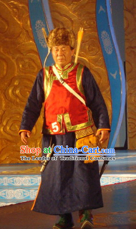 Chinese Traditional Ethnic Mongolian Musician National Costumes Dresses Wear Clothing and Hat Complete Set for Men
