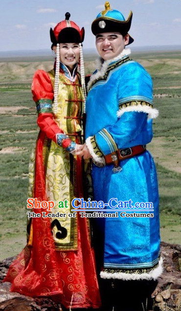 Chinese Traditional Ethnic Empress and Emperor National Costumes Wedding Dresses Wear Clothing and Hat 2 Complete Sets