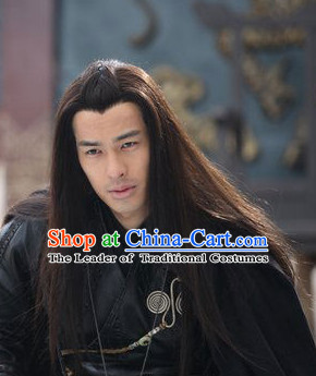 Chinese Ancient Black Long Wigs for Men