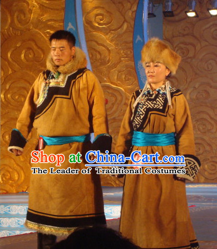 Mongolian Traditional Ethnic National Costumes Complete Set for Men