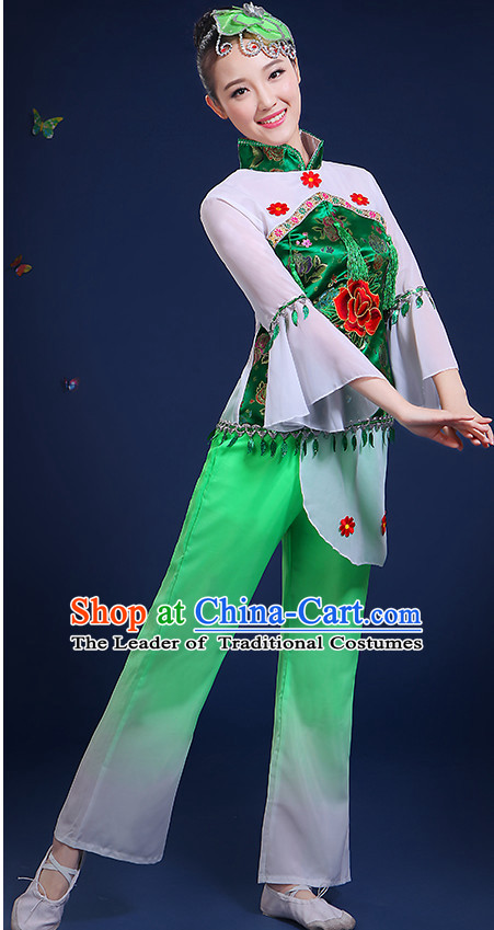 Chinese Folk Fan Dance Costumes and Headpieces Complete Set for Women