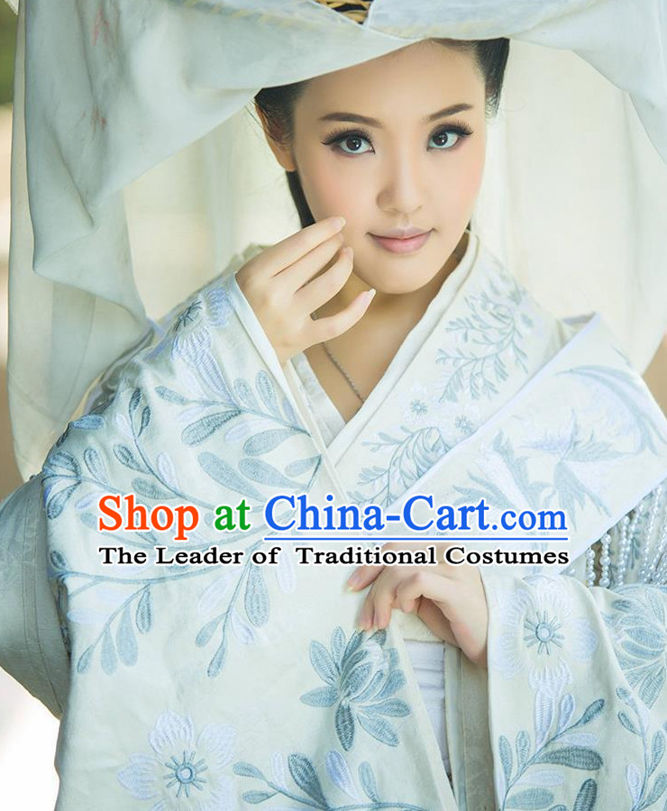 Chinese Classical Han Dynasty Princess Hanfu Clothing Mandarin Dresses and Hair Accessories Complete Set for Women