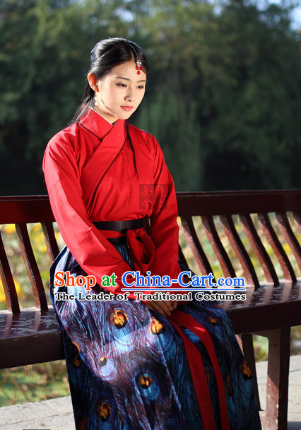 Ancient Chinese Han Dynasty Peacock Clothing Chinese National Costumes Ancient Chinese Costume Traditional Chinese Clothes Complete Set for Women Girls