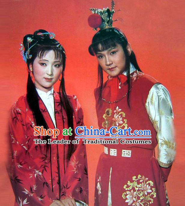 Top Chinese Lin Daiyu Jia Baoyu Clothing Theater and Reenactment Costumes Red Chamber Chinese Clothes Complete Set for Men and Women