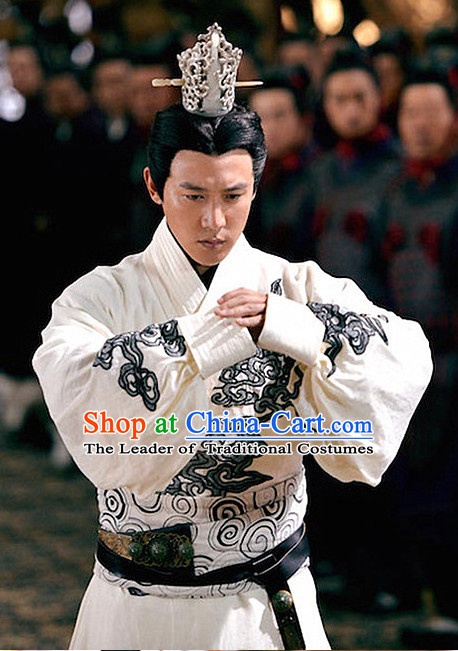 Ancient Chinese Prime Minster Men's Clothing & Apparel Chinese Traditional Dress Theater and Reenactment Costumes and Coronet Complete Set for Men