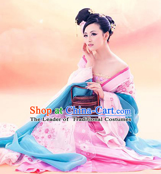 Chinese Ancient Women's Clothing _ Apparel Chinese Traditional Dress Theater and Reenactment Costumes and Headwear Complete Set